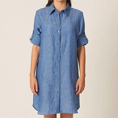 ed7da5709e8c Pohodlná tunika košilového střihu! Variabilní model v denim či stripe  printu. zobrazit více